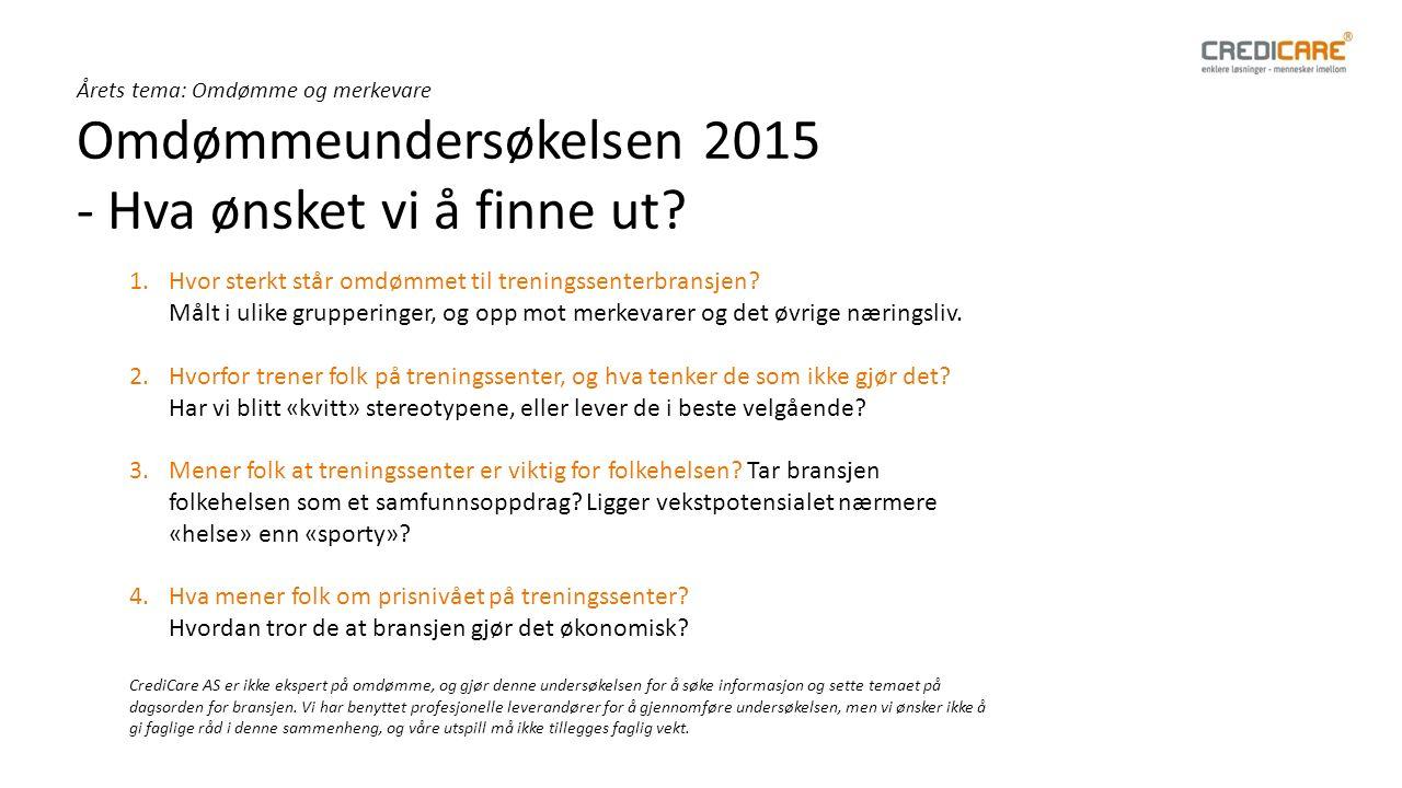 Årets tema: Omdømme og merkevare Omdømmeundersøkelsen 2015 - Hva ønsket vi å finne ut.