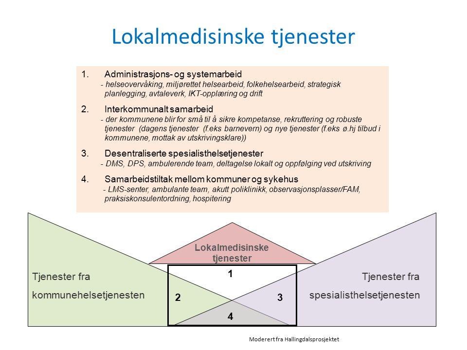 Lokalmedisinske tjenester Lokalmedisinske tjenester Tjenester fra kommunehelsetjenesten spesialisthelsetjenesten 1 2 3 4 1.Administrasjons- og systema