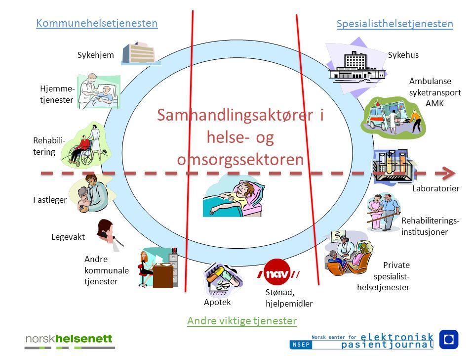 Private spesialist- helsetjenester Fastleger Sykehus Apotek Laboratorier Hjemme- tjenester Ambulanse syketransport AMK Kommunehelsetjenesten Spesialis