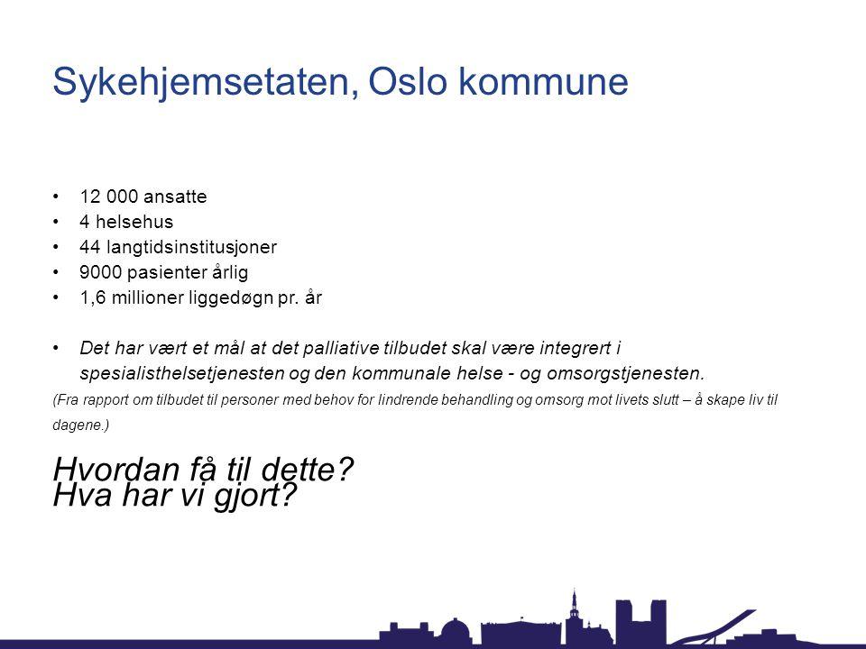 Sykehjemsetaten, Oslo kommune 12 000 ansatte 4 helsehus 44 langtidsinstitusjoner 9000 pasienter årlig 1,6 millioner liggedøgn pr.