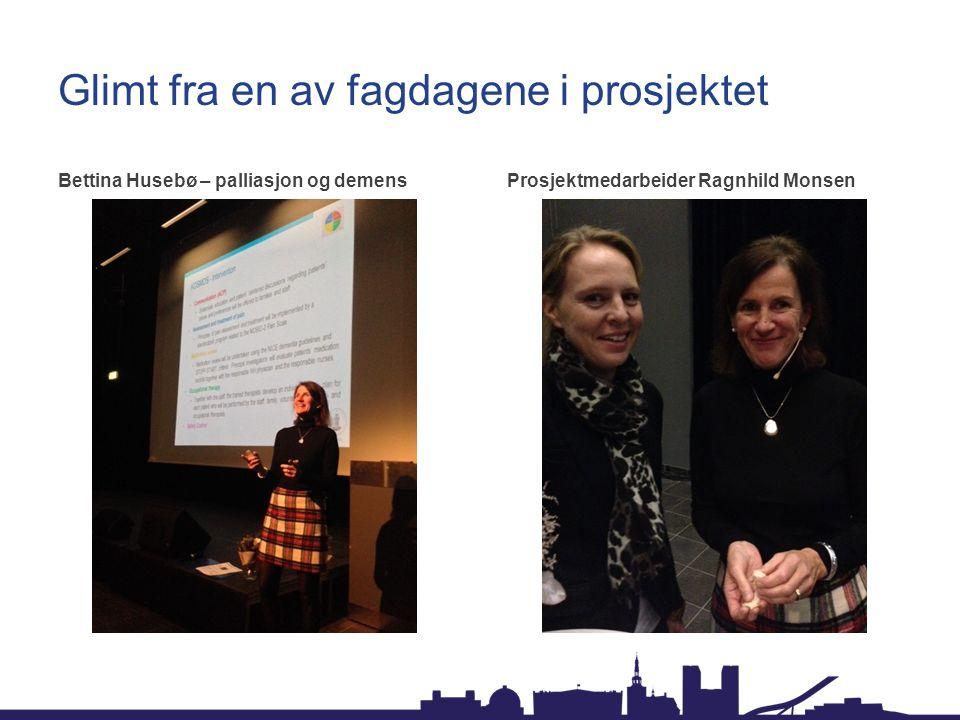 Glimt fra en av fagdagene i prosjektet Bettina Husebø – palliasjon og demensProsjektmedarbeider Ragnhild Monsen