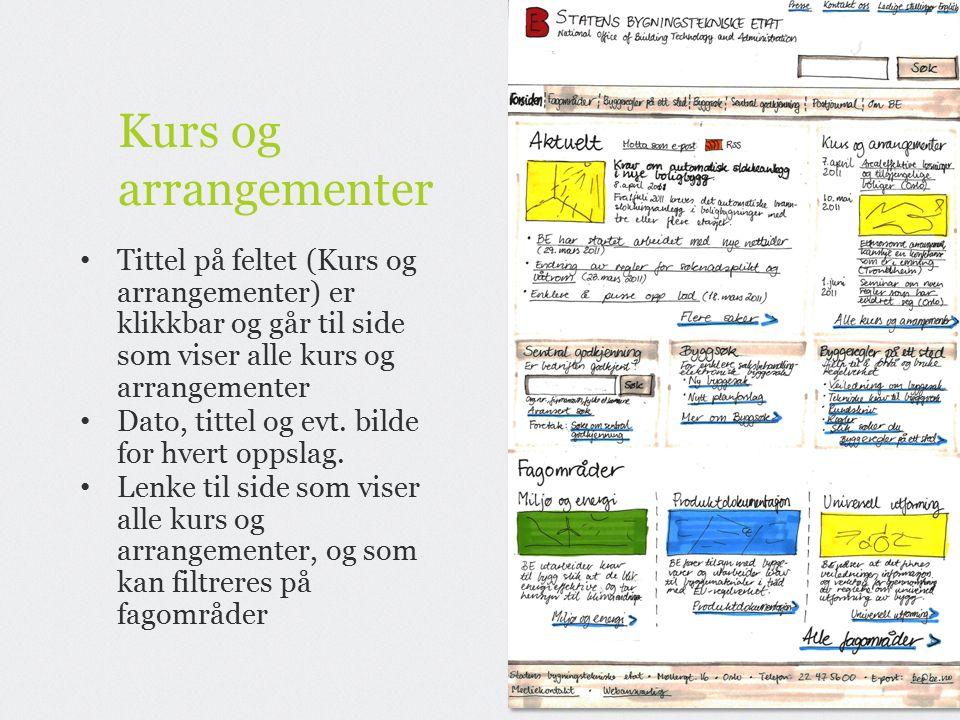 Kurs og arrangementer Tittel på feltet (Kurs og arrangementer) er klikkbar og går til side som viser alle kurs og arrangementer Dato, tittel og evt.