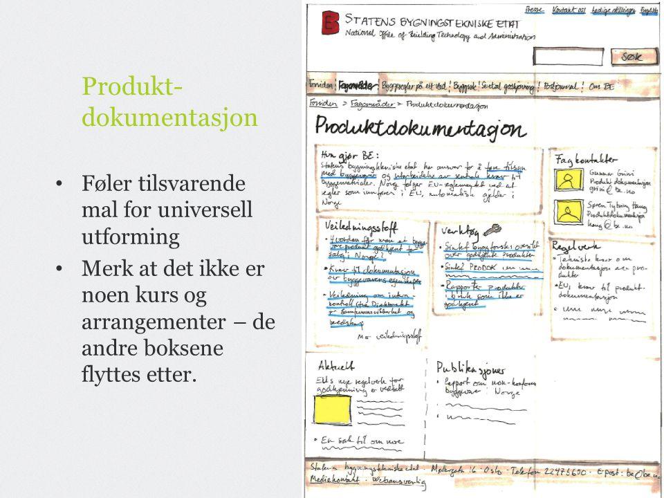 Produkt- dokumentasjon Føler tilsvarende mal for universell utforming Merk at det ikke er noen kurs og arrangementer – de andre boksene flyttes etter.