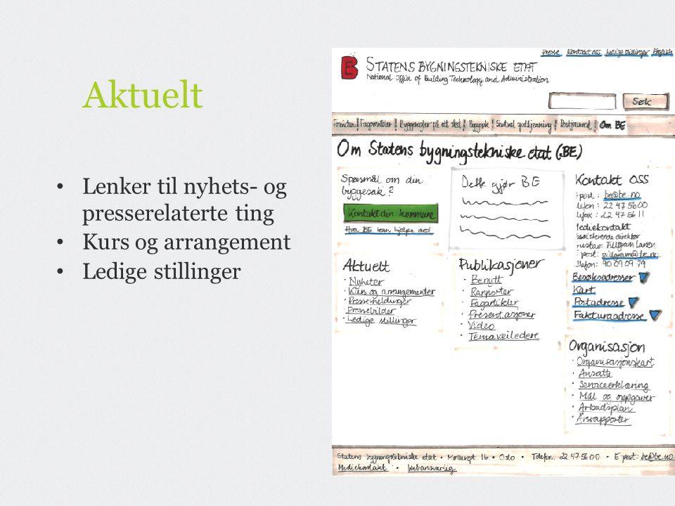 Aktuelt Lenker til nyhets- og presserelaterte ting Kurs og arrangement Ledige stillinger