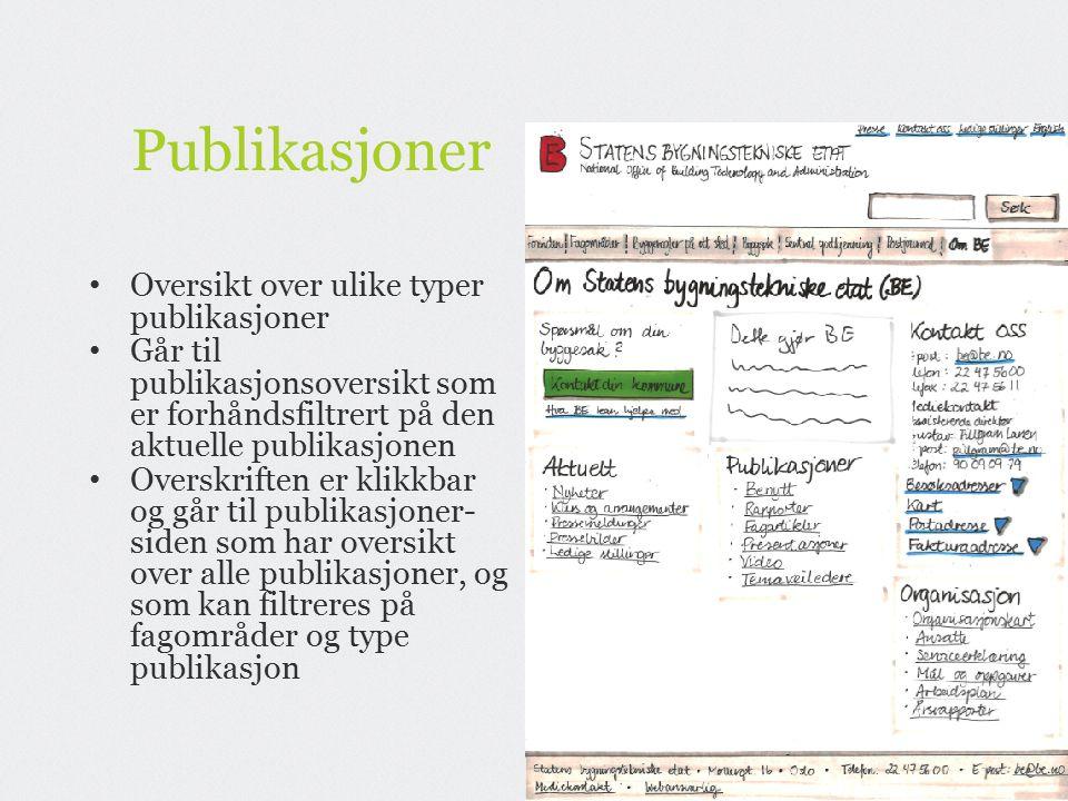 Publikasjoner Oversikt over ulike typer publikasjoner Går til publikasjonsoversikt som er forhåndsfiltrert på den aktuelle publikasjonen Overskriften er klikkbar og går til publikasjoner- siden som har oversikt over alle publikasjoner, og som kan filtreres på fagområder og type publikasjon