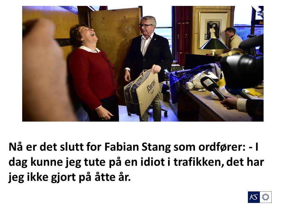 Nå er det slutt for Fabian Stang som ordfører: - I dag kunne jeg tute på en idiot i trafikken, det har jeg ikke gjort på åtte år.