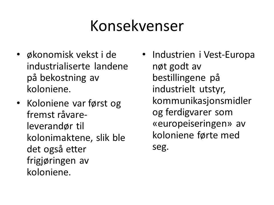 Konsekvenser økonomisk vekst i de industrialiserte landene på bekostning av koloniene.