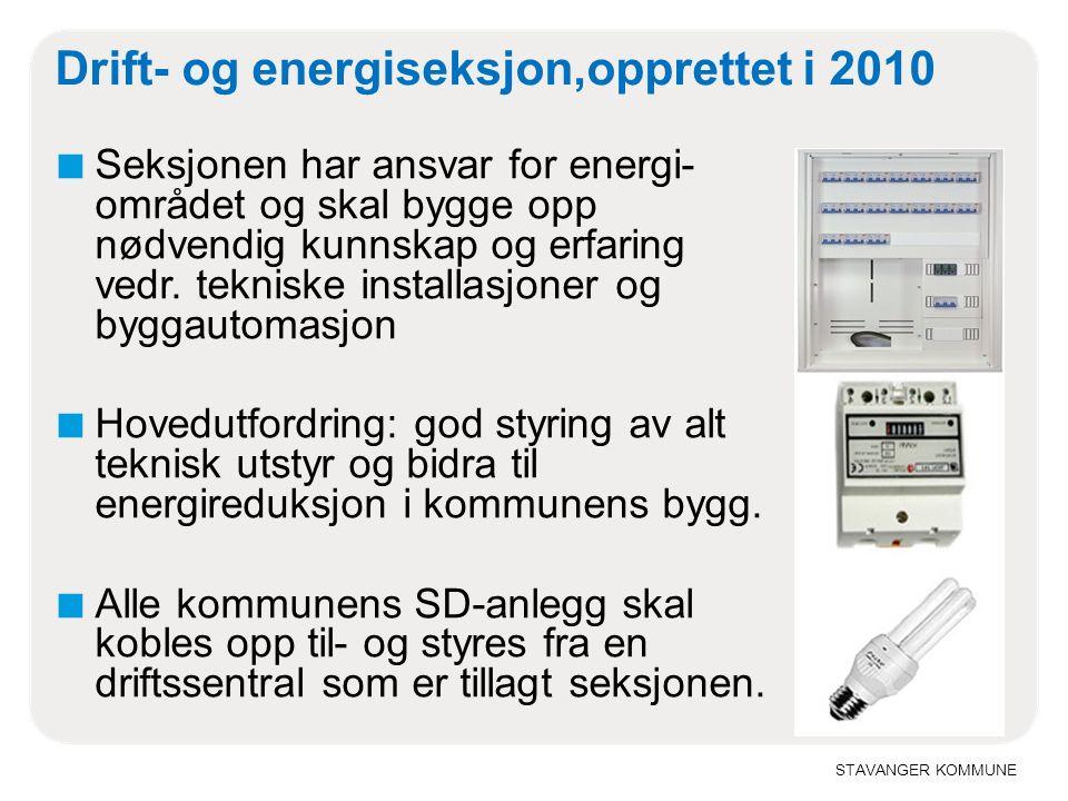 STAVANGER KOMMUNE Drift- og energiseksjon,opprettet i 2010 ■ Seksjonen har ansvar for energi- området og skal bygge opp nødvendig kunnskap og erfaring