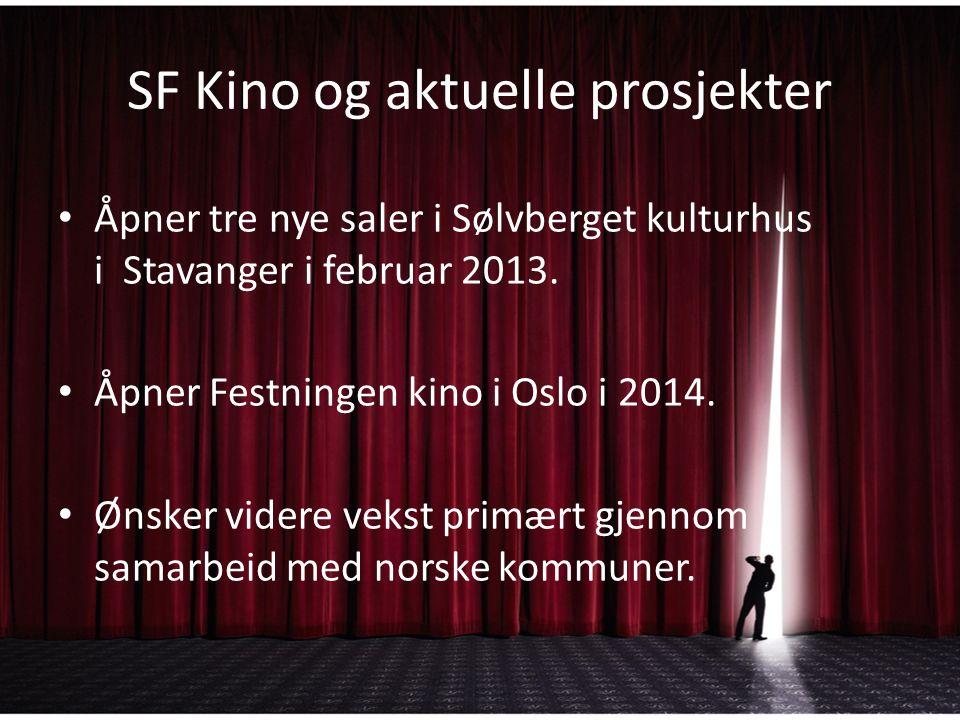 SF Kino og aktuelle prosjekter Åpner tre nye saler i Sølvberget kulturhus i Stavanger i februar 2013. Åpner Festningen kino i Oslo i 2014. Ønsker vide