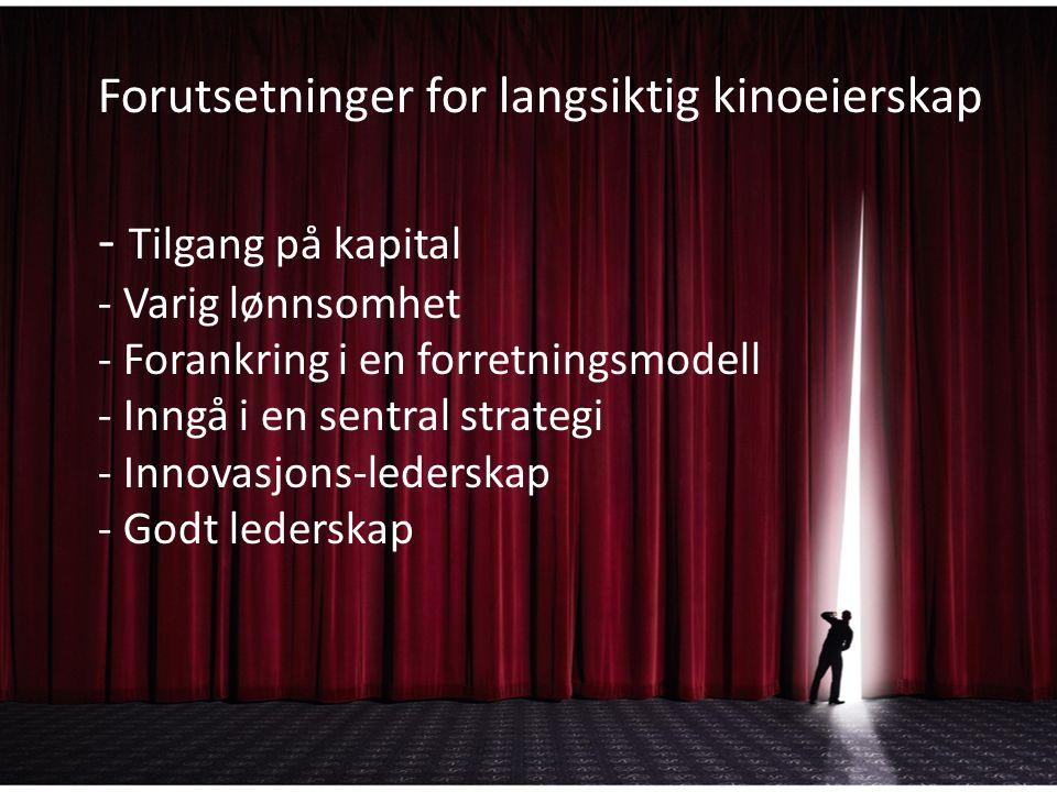 Forutsetninger for langsiktig kinoeierskap - Tilgang på kapital - Varig lønnsomhet - Forankring i en forretningsmodell - Inngå i en sentral strategi - Innovasjons-lederskap - Godt lederskap