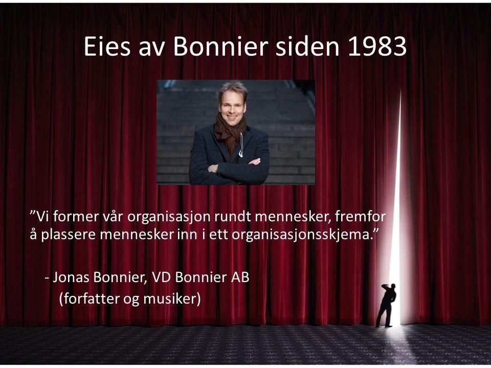 Eies av Bonnier siden 1983 Vi former vår organisasjon rundt mennesker, fremfor å plassere mennesker inn i ett organisasjonsskjema. - Jonas Bonnier, VD Bonnier AB (forfatter og musiker)