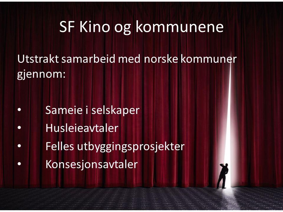 SF Kino og kommunene Utstrakt samarbeid med norske kommuner gjennom: Sameie i selskaper Husleieavtaler Felles utbyggingsprosjekter Konsesjonsavtaler
