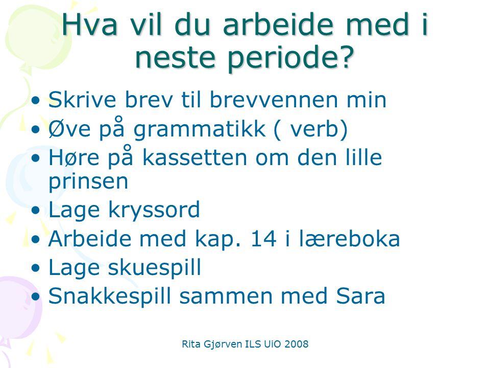 Rita Gjørven ILS UiO 2008 Hva vil du arbeide med i neste periode.