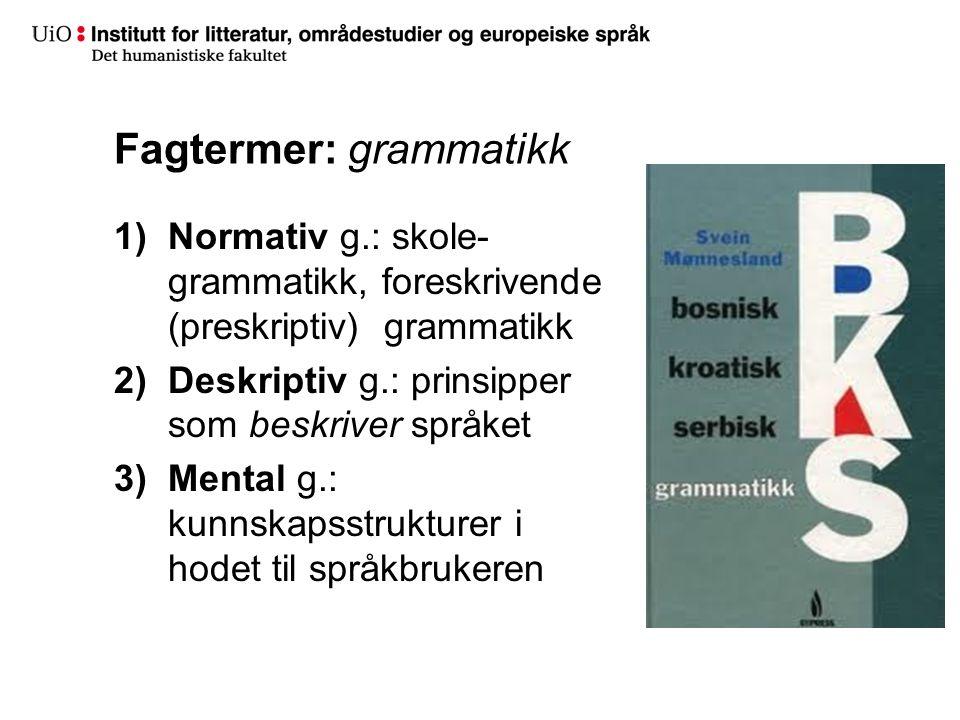 Fagtermer: grammatikk 1)Normativ g.: skole- grammatikk, foreskrivende (preskriptiv) grammatikk 2)Deskriptiv g.: prinsipper som beskriver språket 3)Mental g.: kunnskapsstrukturer i hodet til språkbrukeren