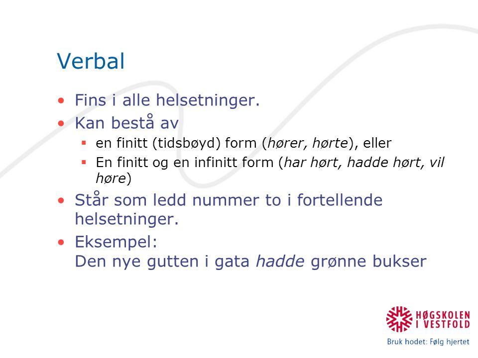 Verbal Fins i alle helsetninger.
