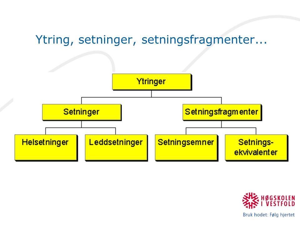 Ytring: Setning eller setningsfragment.