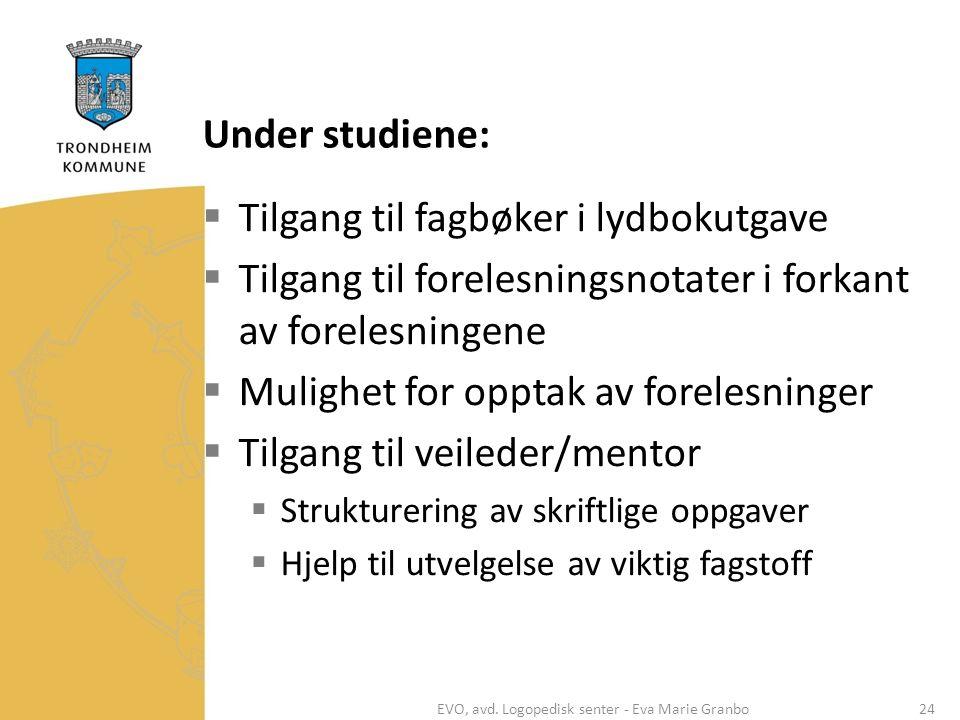 Under studiene:  Tilgang til fagbøker i lydbokutgave  Tilgang til forelesningsnotater i forkant av forelesningene  Mulighet for opptak av forelesni