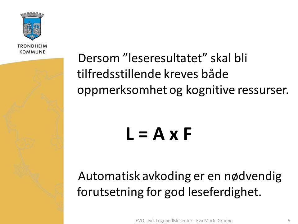 """Dersom """"leseresultatet"""" skal bli tilfredsstillende kreves både oppmerksomhet og kognitive ressurser. L = A x F Automatisk avkoding er en nødvendig for"""