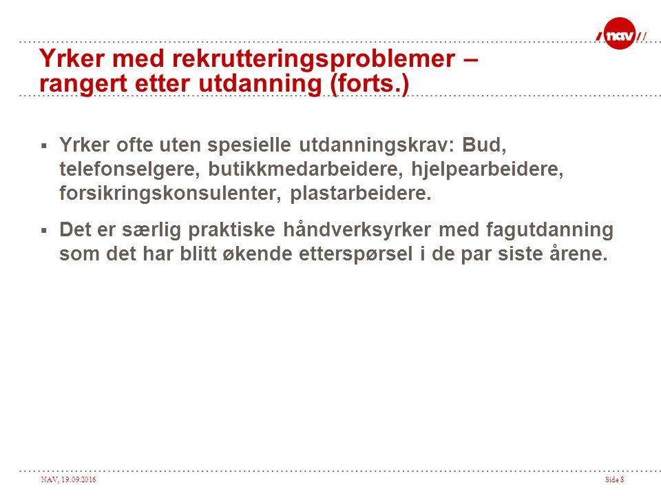 NAV, 19.09.2016Side 9 Oppsummering bedriftsundersøkelsen  Økende etterspørsel etter arbeidskraft.