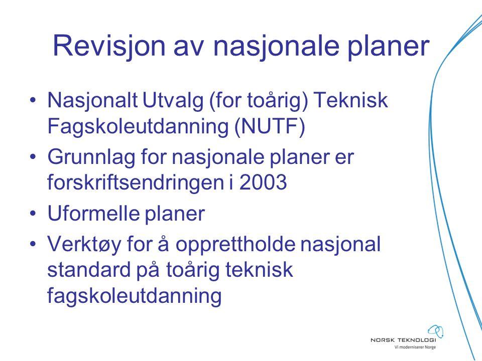 Revisjon av nasjonale planer Nasjonalt Utvalg (for toårig) Teknisk Fagskoleutdanning (NUTF) Grunnlag for nasjonale planer er forskriftsendringen i 200
