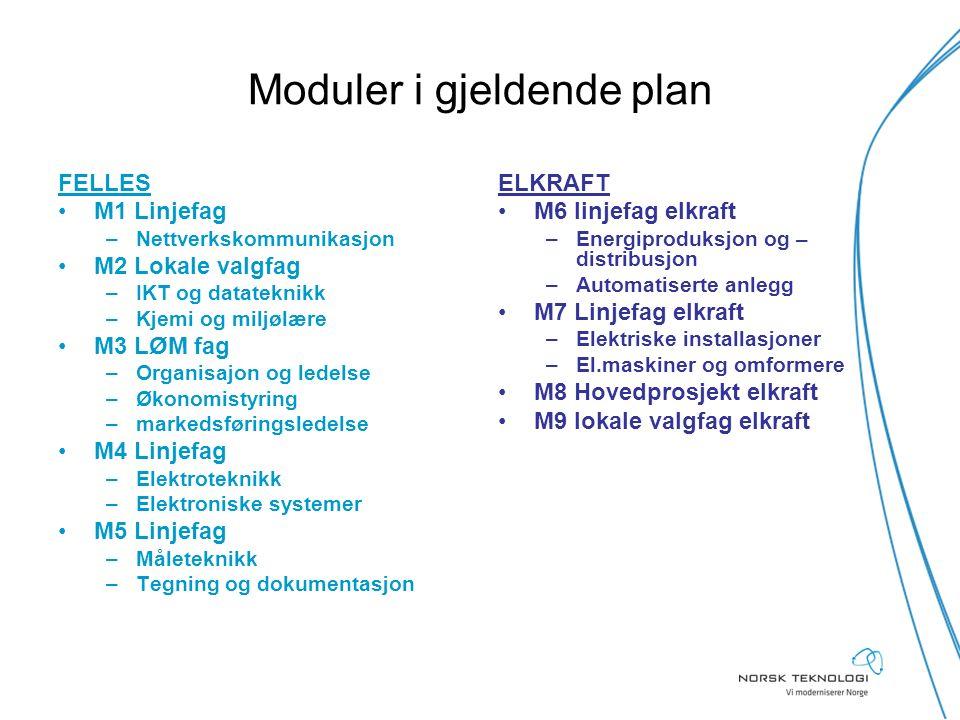 Moduler i gjeldende plan FELLES M1 Linjefag –Nettverkskommunikasjon M2 Lokale valgfag –IKT og datateknikk –Kjemi og miljølære M3 LØM fag –Organisajon
