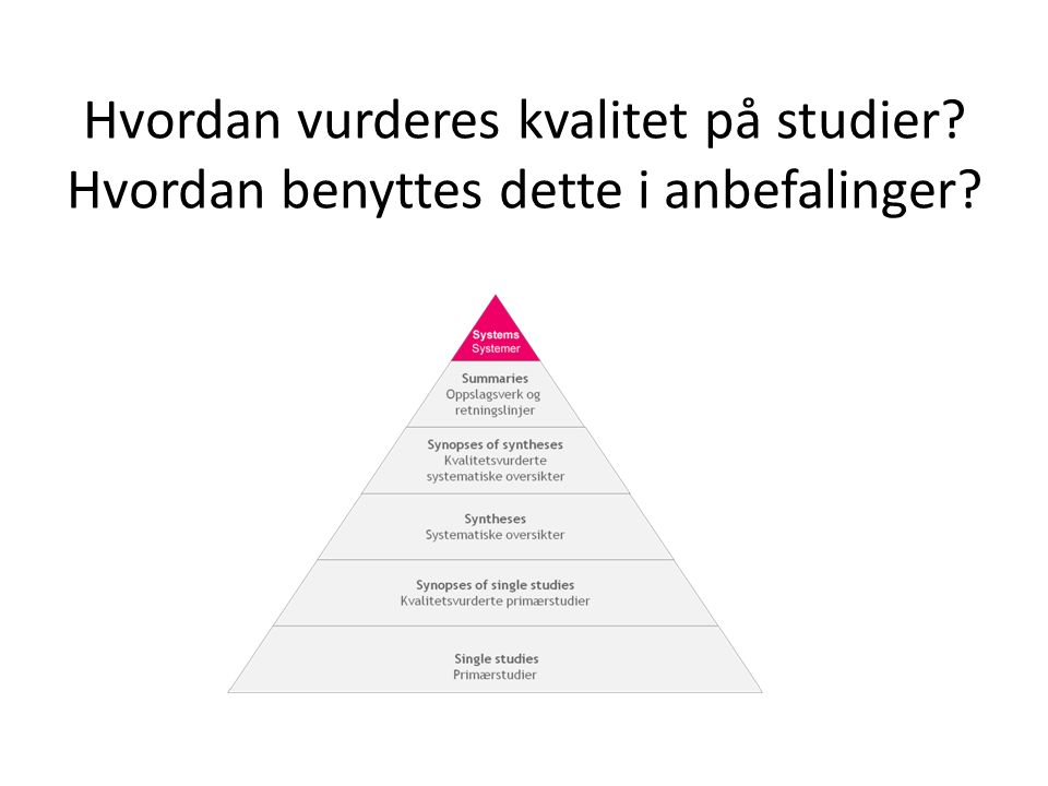 Hvordan vurderes kvalitet på studier? Hvordan benyttes dette i anbefalinger?