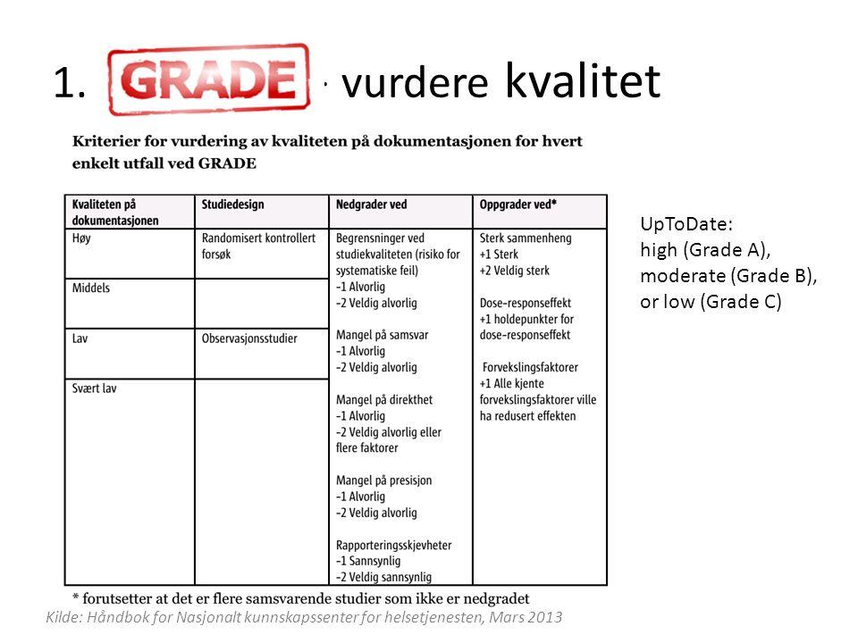 Kilde: Håndbok for Nasjonalt kunnskapssenter for helsetjenesten, Mars 2013 UpToDate: high (Grade A), moderate (Grade B), or low (Grade C) 1. - vurdere