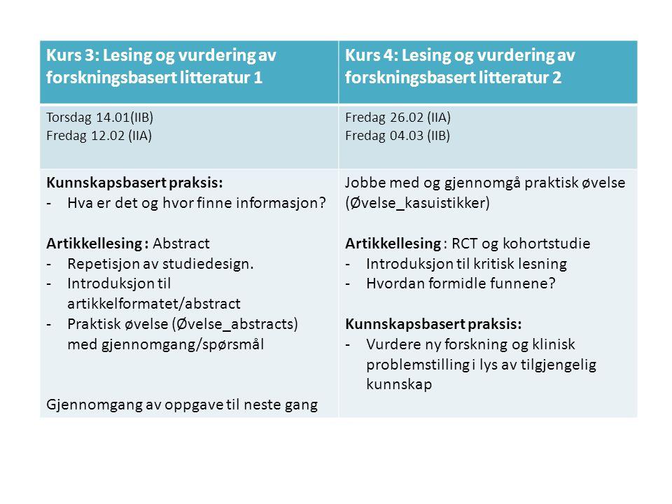 Kurs 3: Lesing og vurdering av forskningsbasert litteratur 1 Kurs 4: Lesing og vurdering av forskningsbasert litteratur 2 Torsdag 14.01(IIB) Fredag 12