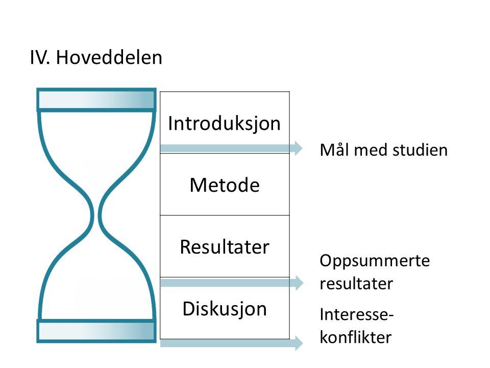Introduksjon Metode Resultater Diskusjon Oppsummerte resultater Mål med studien Interesse- konflikter IV. Hoveddelen