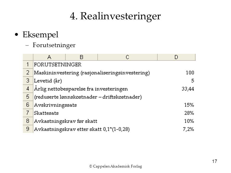© Cappelen Akademisk Forlag 17 4. Realinvesteringer Eksempel –Forutsetninger