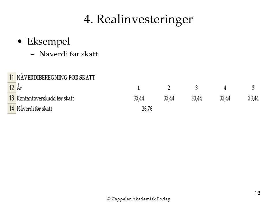 © Cappelen Akademisk Forlag 18 4. Realinvesteringer Eksempel –Nåverdi før skatt