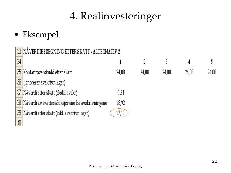 © Cappelen Akademisk Forlag 20 4. Realinvesteringer Eksempel