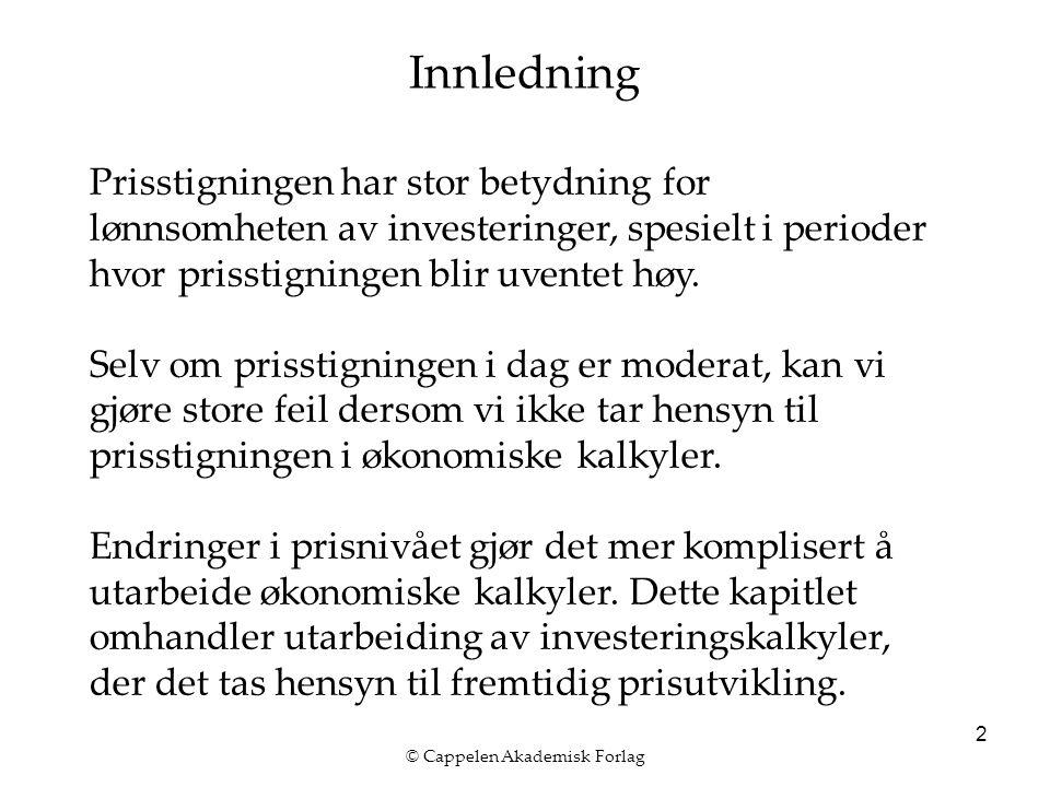 © Cappelen Akademisk Forlag 2 Innledning Prisstigningen har stor betydning for lønnsomheten av investeringer, spesielt i perioder hvor prisstigningen blir uventet høy.