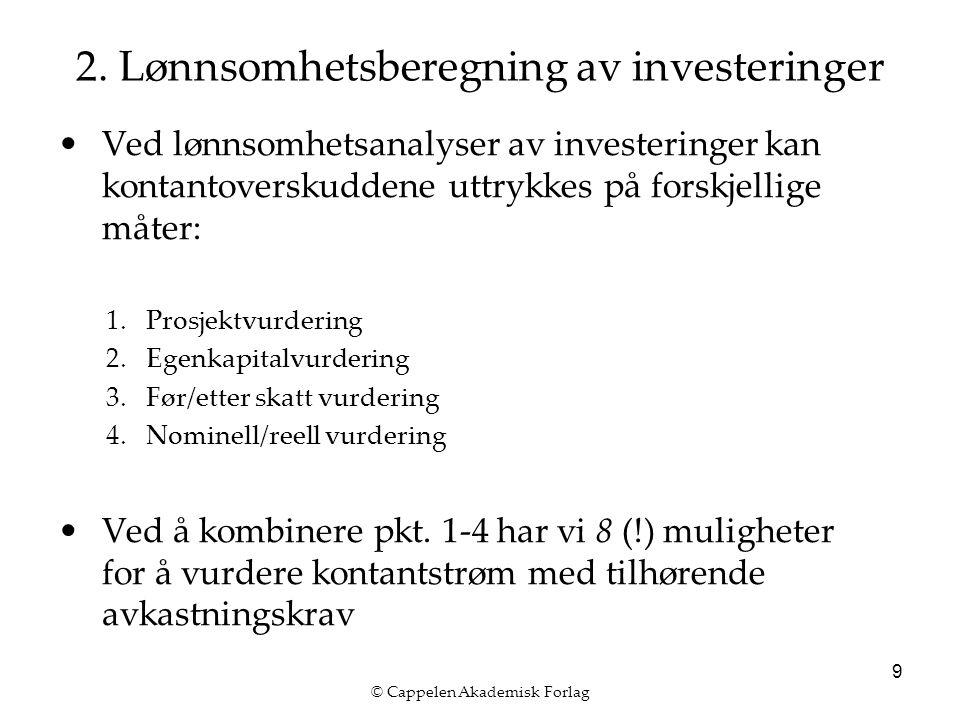 © Cappelen Akademisk Forlag 10 2. Lønnsomhetsberegning av investeringer