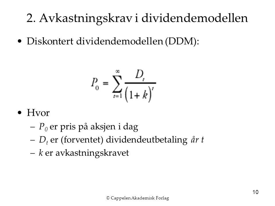 © Cappelen Akademisk Forlag 10 2. Avkastningskrav i dividendemodellen Diskontert dividendemodellen (DDM): Hvor –P 0 er pris på aksjen i dag –D t er (f