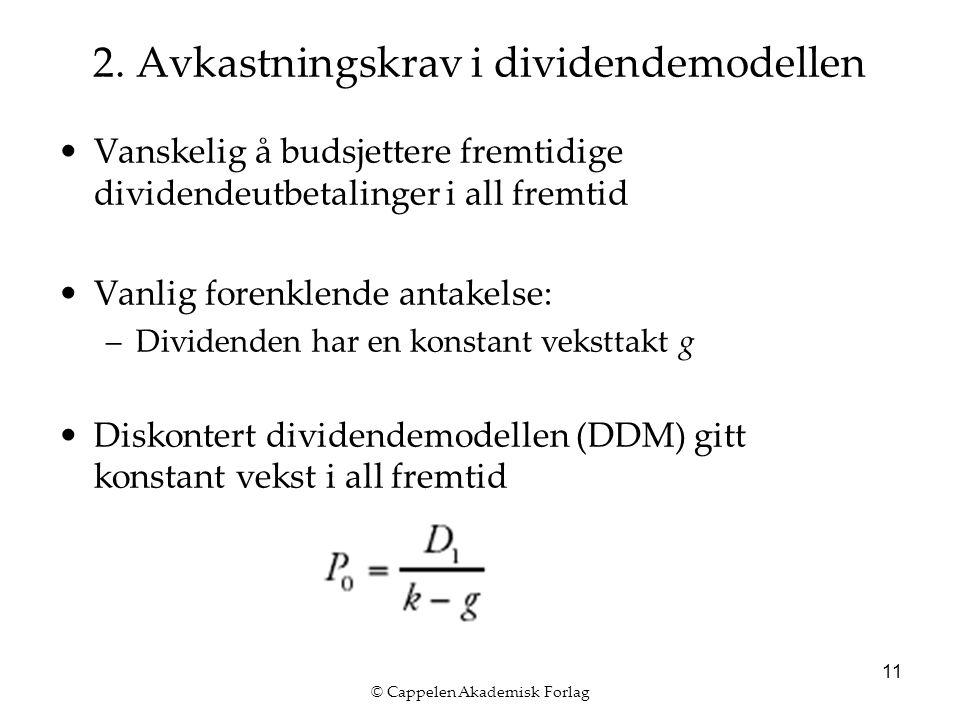 © Cappelen Akademisk Forlag 11 2. Avkastningskrav i dividendemodellen Vanskelig å budsjettere fremtidige dividendeutbetalinger i all fremtid Vanlig fo