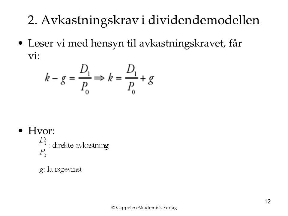 © Cappelen Akademisk Forlag 12 2. Avkastningskrav i dividendemodellen Løser vi med hensyn til avkastningskravet, får vi: Hvor:
