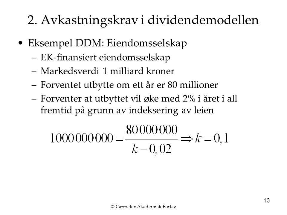 © Cappelen Akademisk Forlag 13 2. Avkastningskrav i dividendemodellen Eksempel DDM: Eiendomsselskap –EK-finansiert eiendomsselskap –Markedsverdi 1 mil
