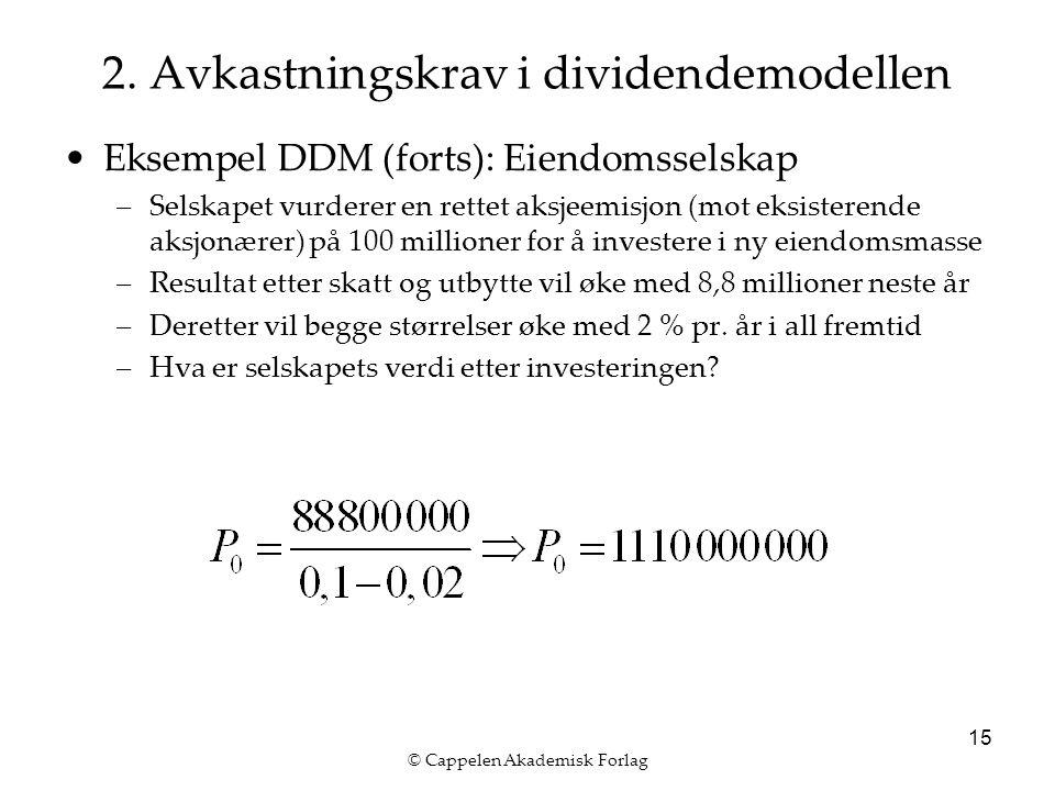© Cappelen Akademisk Forlag 15 2. Avkastningskrav i dividendemodellen Eksempel DDM (forts): Eiendomsselskap –Selskapet vurderer en rettet aksjeemisjon