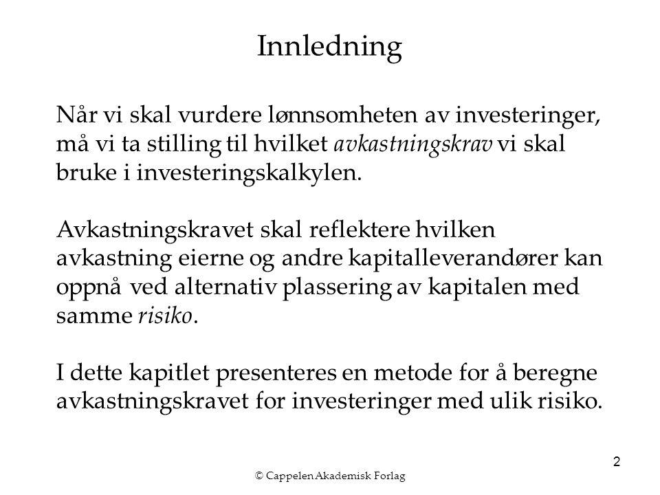 © Cappelen Akademisk Forlag 2 Innledning Når vi skal vurdere lønnsomheten av investeringer, må vi ta stilling til hvilket avkastningskrav vi skal bruke i investeringskalkylen.