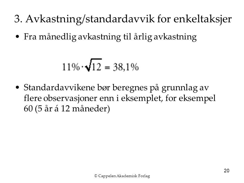 © Cappelen Akademisk Forlag 20 3. Avkastning/standardavvik for enkeltaksjer Fra månedlig avkastning til årlig avkastning Standardavvikene bør beregnes