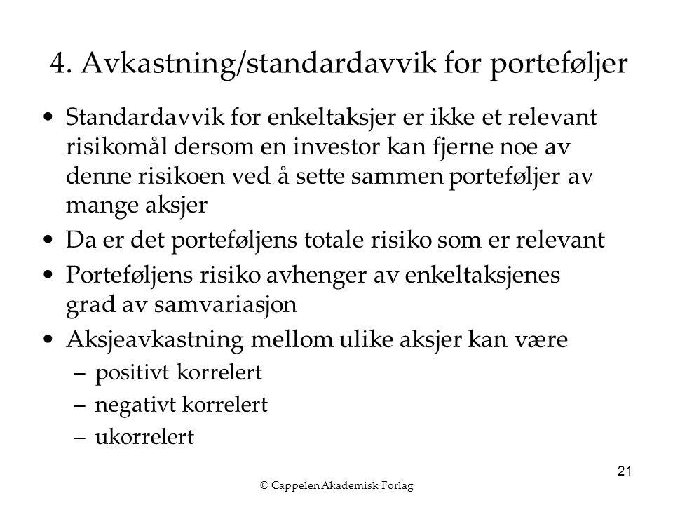 © Cappelen Akademisk Forlag 21 4. Avkastning/standardavvik for porteføljer Standardavvik for enkeltaksjer er ikke et relevant risikomål dersom en inve