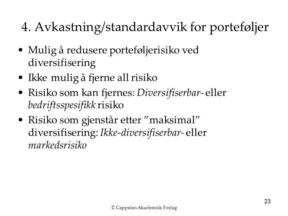 © Cappelen Akademisk Forlag 23 4. Avkastning/standardavvik for porteføljer Mulig å redusere porteføljerisiko ved diversifisering Ikke mulig å fjerne a