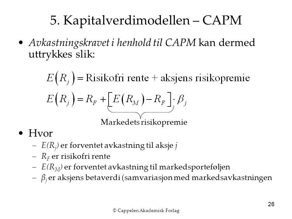 © Cappelen Akademisk Forlag 26 5. Kapitalverdimodellen – CAPM Avkastningskravet i henhold til CAPM kan dermed uttrykkes slik: Hvor –E(R j ) er forvent