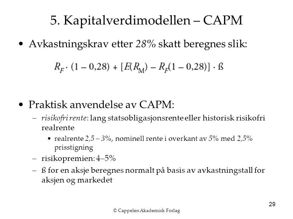© Cappelen Akademisk Forlag 29 5. Kapitalverdimodellen – CAPM Avkastningskrav etter 28% skatt beregnes slik: Praktisk anvendelse av CAPM: –risikofri r