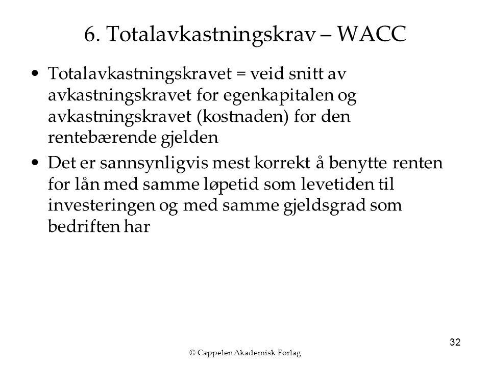 © Cappelen Akademisk Forlag 32 6. Totalavkastningskrav – WACC Totalavkastningskravet = veid snitt av avkastningskravet for egenkapitalen og avkastning