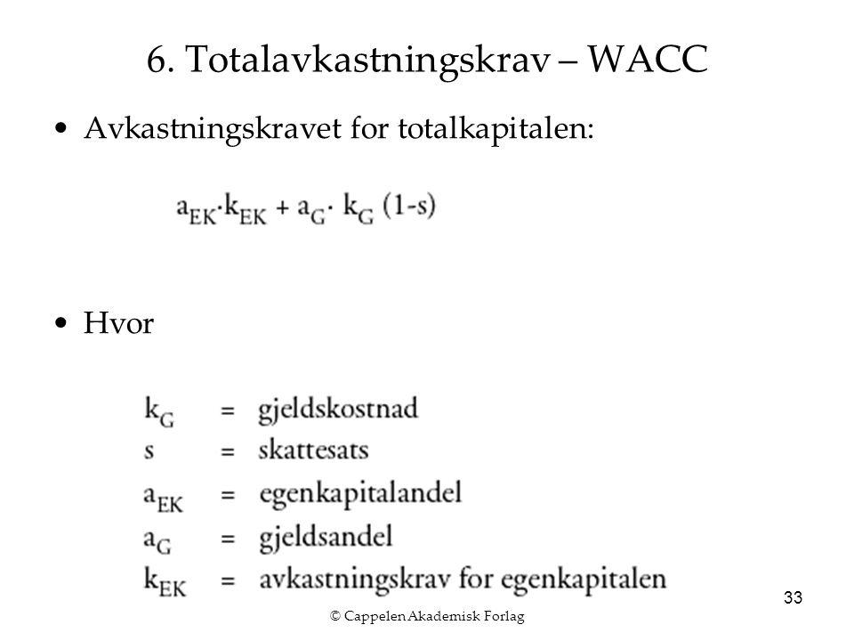 © Cappelen Akademisk Forlag 33 6. Totalavkastningskrav – WACC Avkastningskravet for totalkapitalen: Hvor