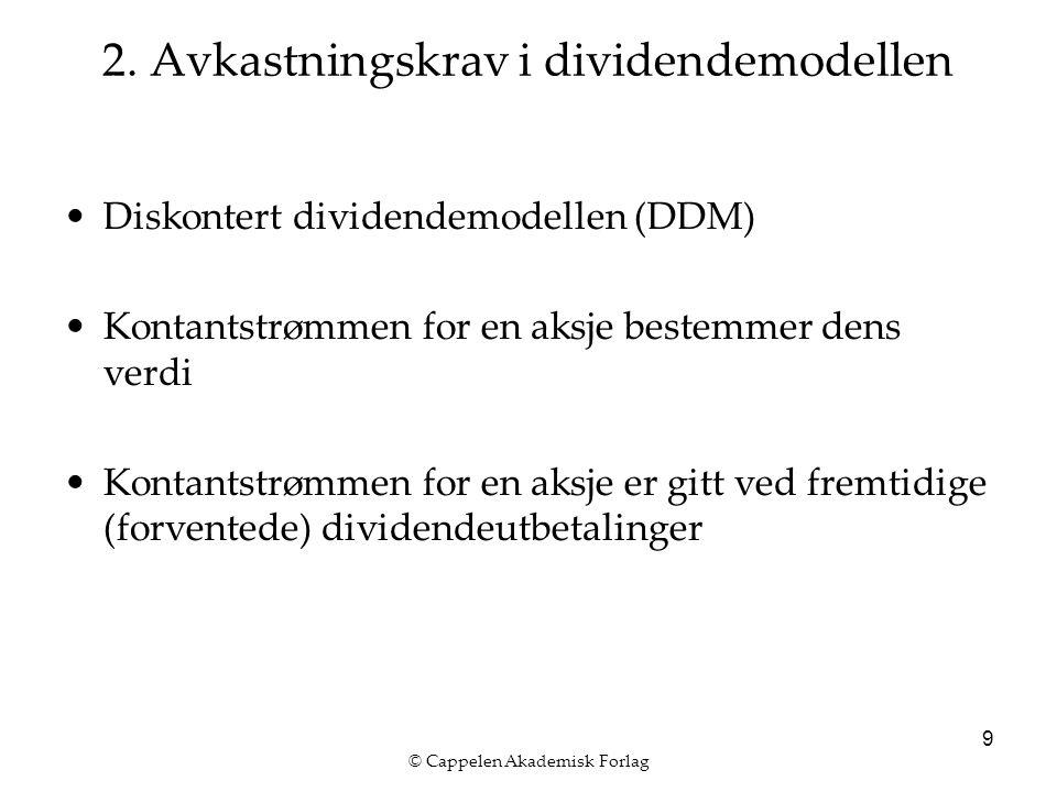 © Cappelen Akademisk Forlag 9 2. Avkastningskrav i dividendemodellen Diskontert dividendemodellen (DDM) Kontantstrømmen for en aksje bestemmer dens ve