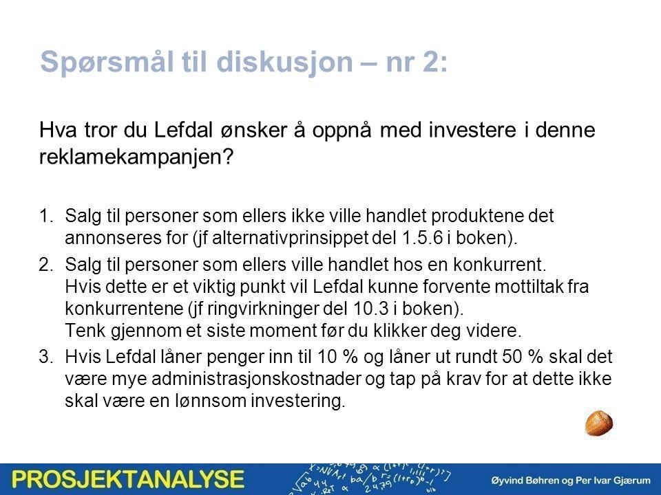 Spørsmål til diskusjon – nr 2: Hva tror du Lefdal ønsker å oppnå med investere i denne reklamekampanjen.