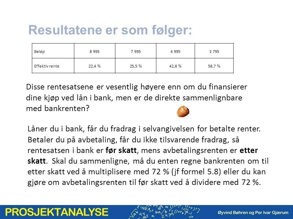 Resultatene er som følger: Beløp8 9957 9954 9953 795 Effektiv rente22,4 %25,5 %42,8 %58,7 % Disse rentesatsene er vesentlig høyere enn om du finansierer dine kjøp ved lån i bank, men er de direkte sammenlignbare med bankrenten.